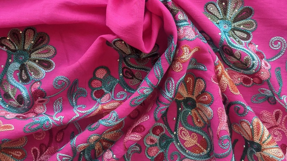 Vivid Pink Paisley Gauze with Embroidery