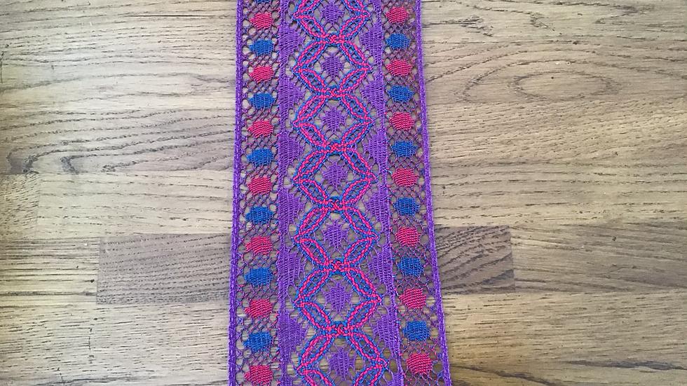 Purple & Red Cotton Lace/12cm wide