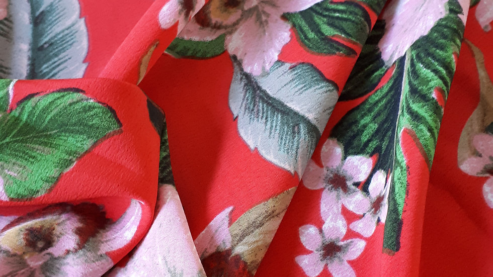 Remnant Tropical Leaves & Flowers on Red / 200cm