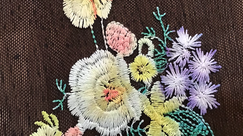 Embroidered Flowers on Mesh Net