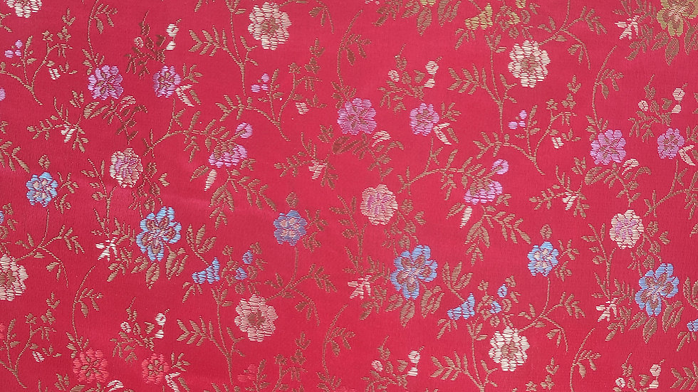 Red, Pastel & Gold Floral Brocade