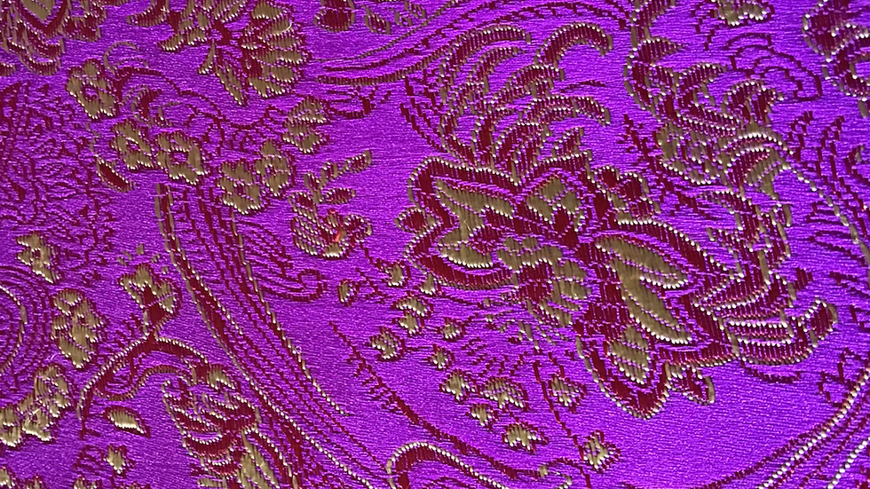 Deep Mauve & Gold Swirl Brocade