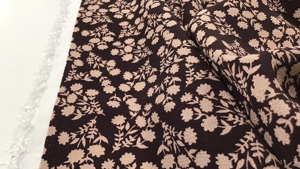 Remnant - Joan - Dark Brown & Light Brown Floral Crepe