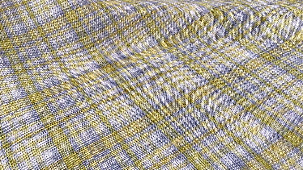 Yellow Grey Check Linen
