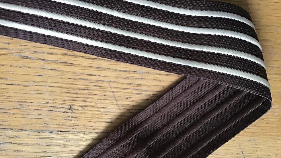 Brown & White Stripe Elastic