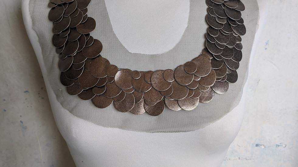 Bronze Metallic Appliqué Neckline