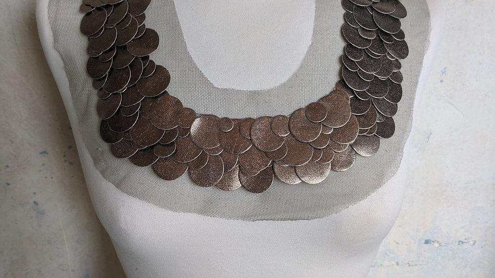 Bronze Metallic Appliqué Neckline