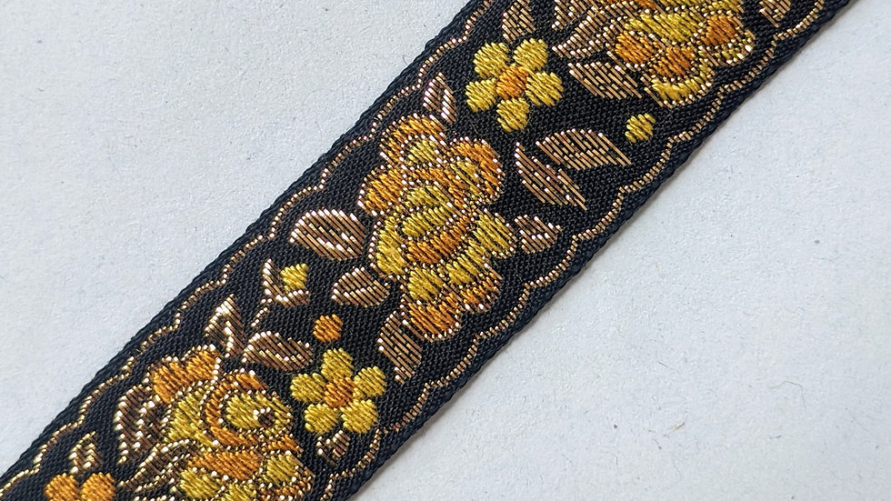 Black & Gold  Embroidered Ribbon