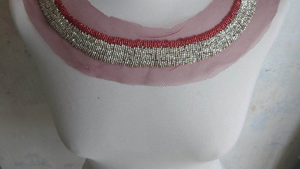 Bead Neckline / Red & Gold