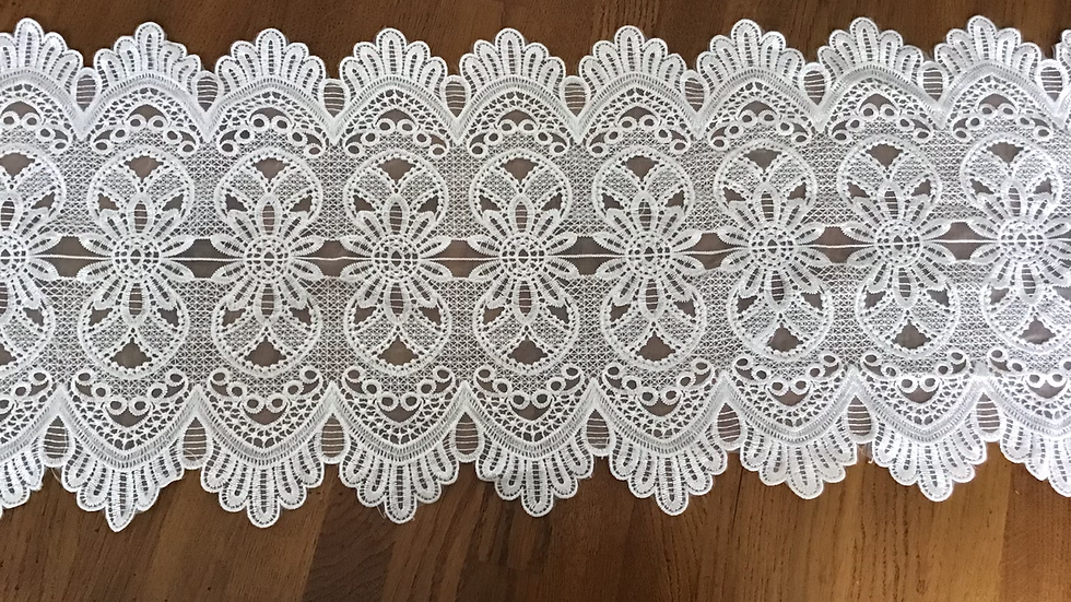 Ivory Extra Large Embroidered Victorian Style Lace Trim