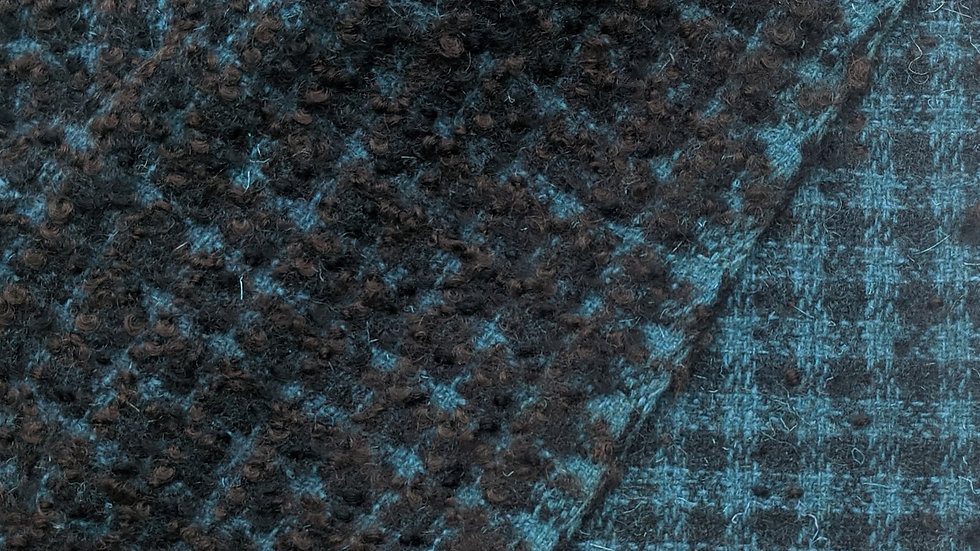 Teal Brown Boucle Check wool