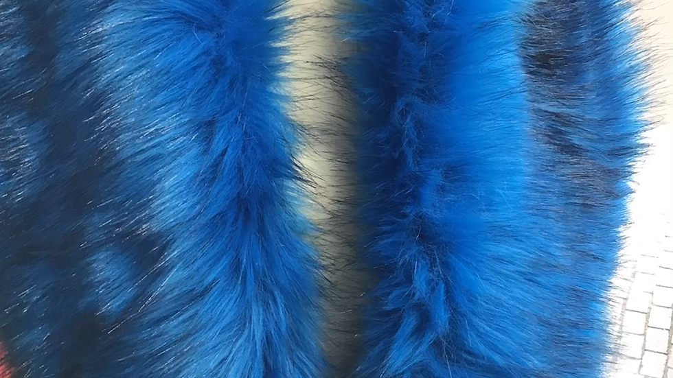 Vibrant Blue with Black Tips Faux Fur Piece