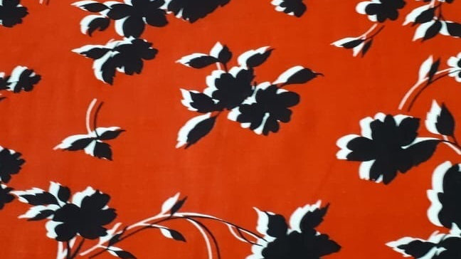 Monochrome floral on Red
