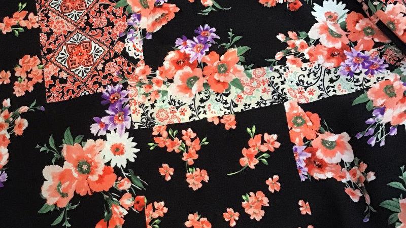 Remnant Peach Patchwork Floral / 280cm