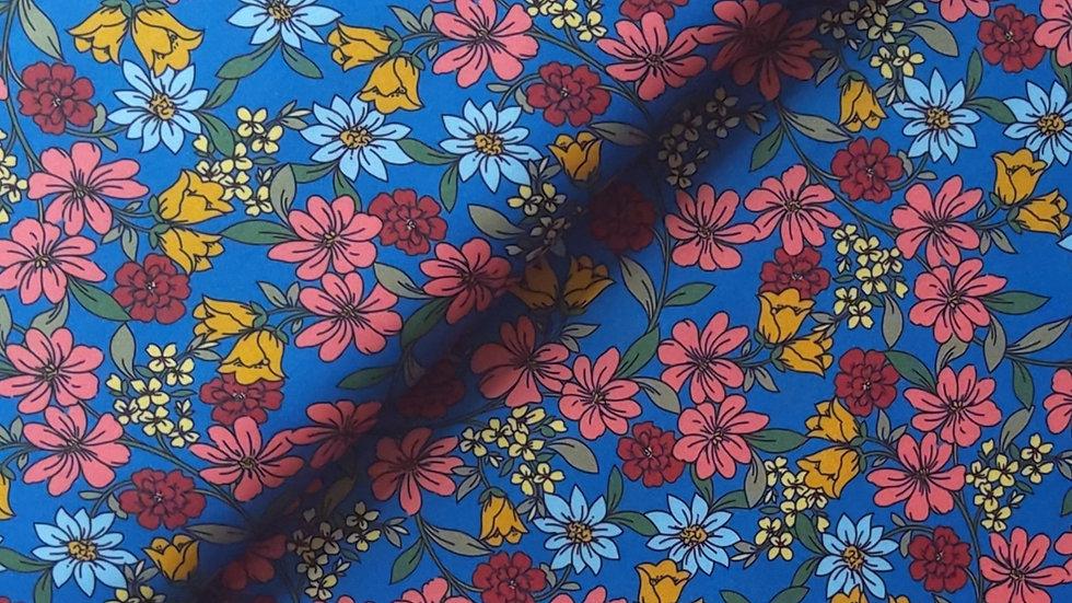 Jolly Floral Satin - Multi on Blue