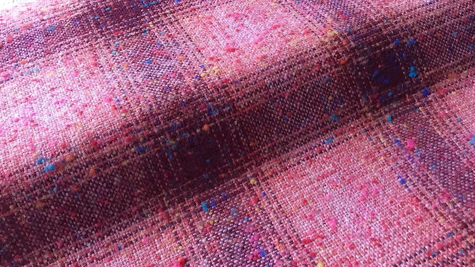 Crushed Strawberries Plaid Tweed Wool