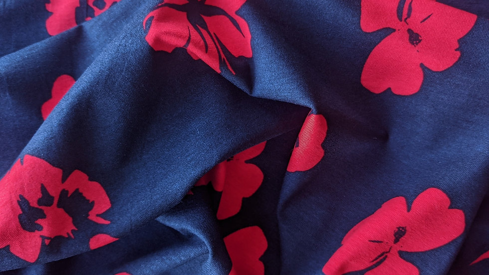 Red Floral on Navy Jersey