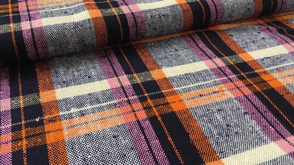 Vintage Haul - Orange Pink Deepest Purple & Cream Check Linen