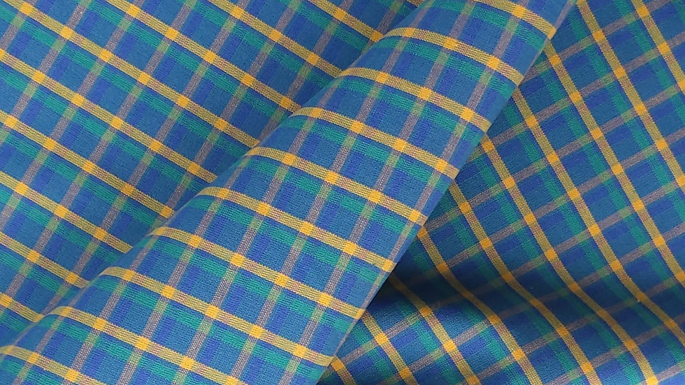 Yellow & Green Check on Blue Cotton