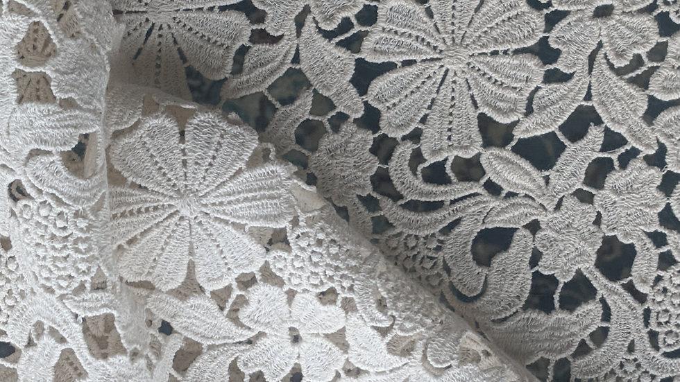 Off White Floral Cotton Lace