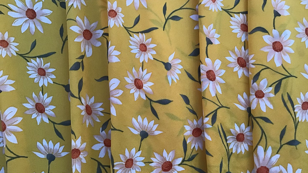 Yellow Daisy Print Crepe