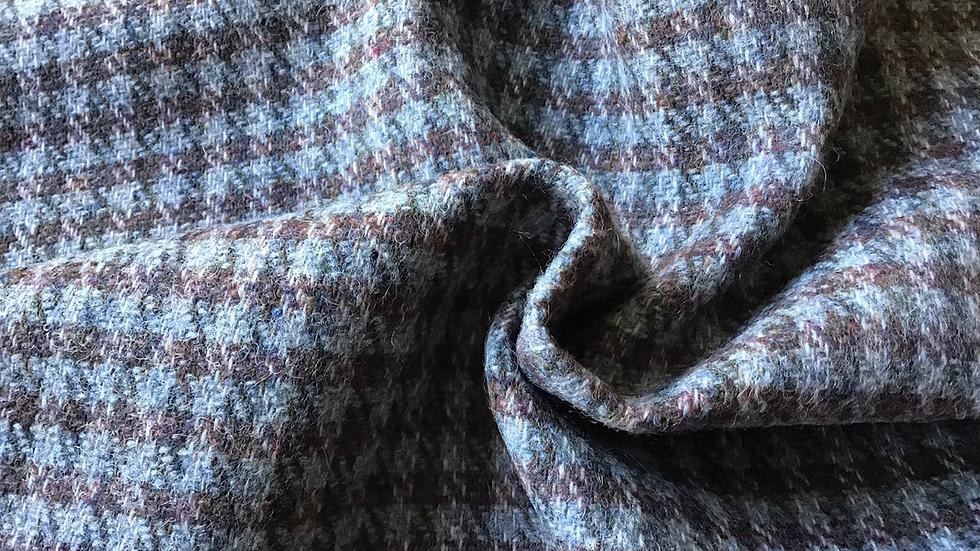 Muted Blue & Brown Check Tweed