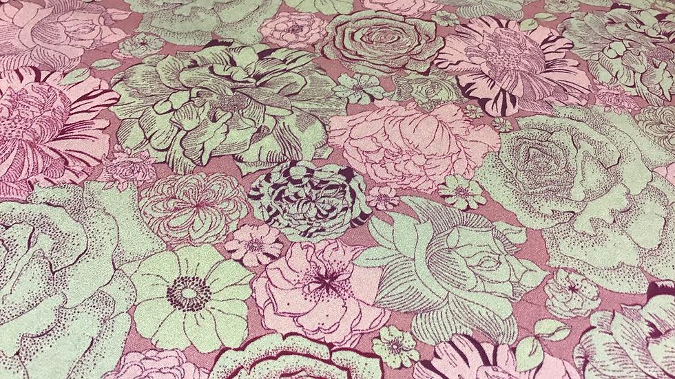 Remnant Ex Designer Floral Pink Silk Satin - /55cms