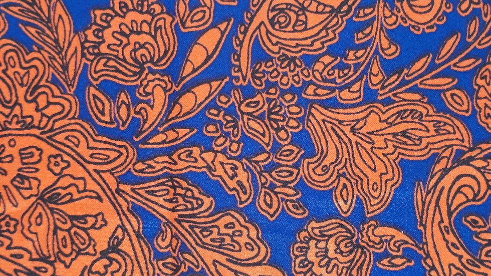 Red & Blue Paisley Satin