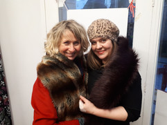 Besties Deirdre and Rachel modelling their faux fur stoles