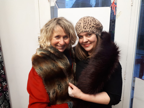 Besties Deirdre and Rachel modelling their faux fur stoles