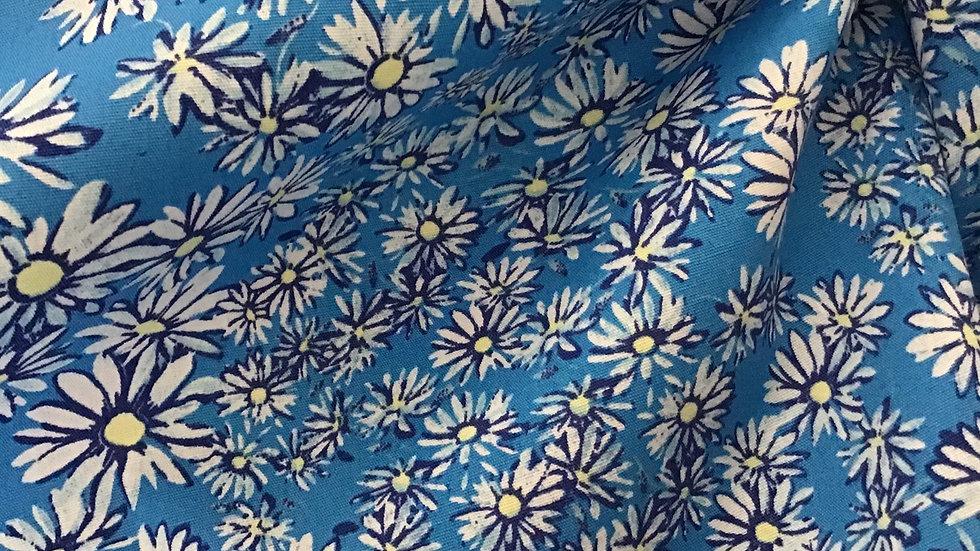 Summer Blue Crisp Cotton Floral