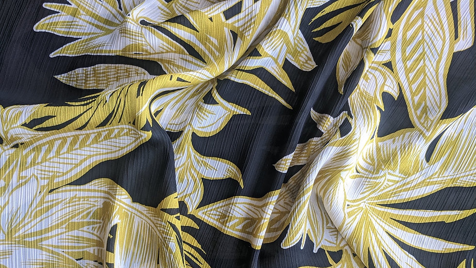 Large Tropical Flowers in White & Gold on Black