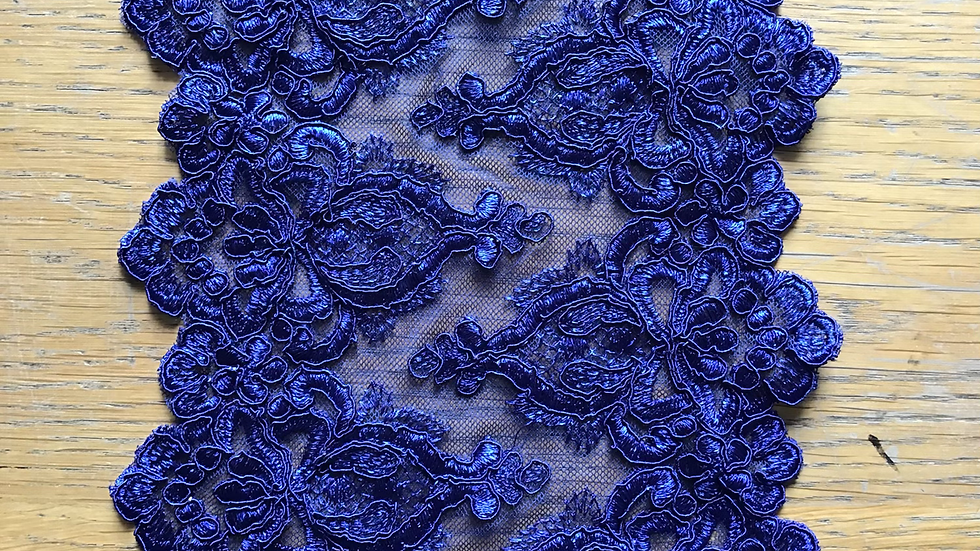 Midnight Blue Extra Wide Lace Trim