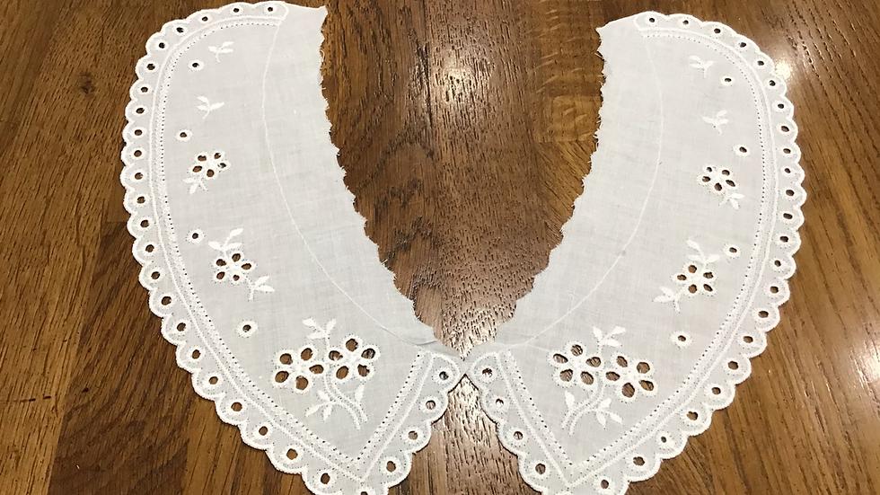 Stephanie White Cotton Embroidered Collar