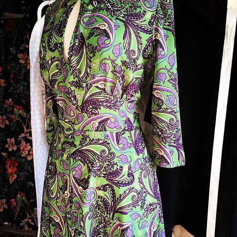 Paisley dress in suffragette colours by Tara