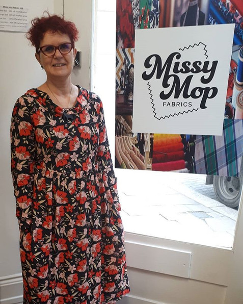 Helen looking fabulous in her new self designed frock!