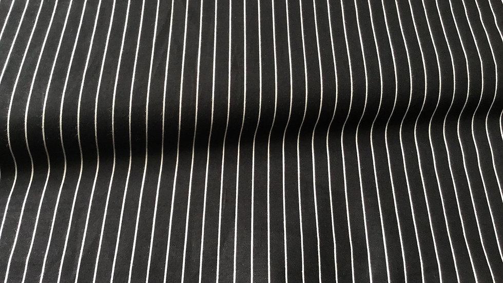 Black & White Pinstripe Stretch Cotton