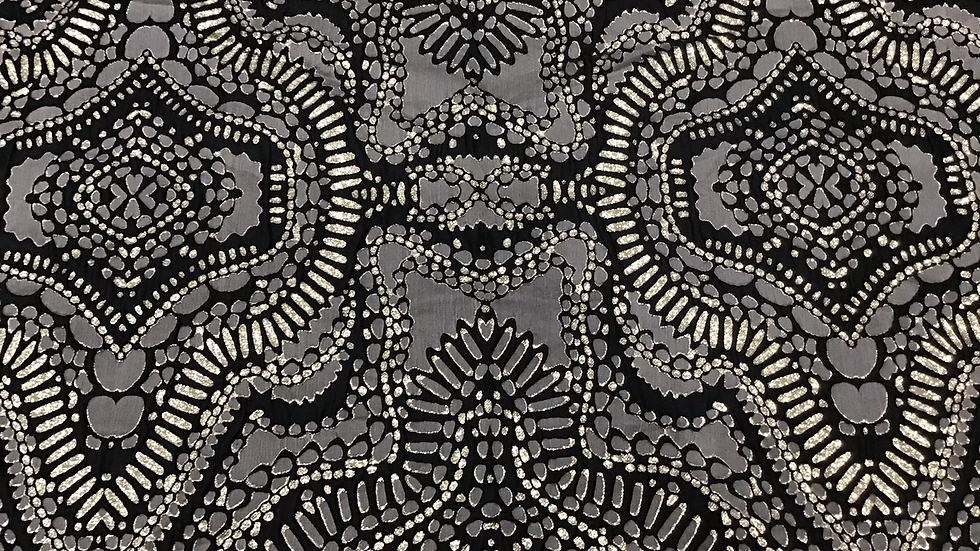 Remnant Abstract Brocade = Gold Black Grey/ 110cm