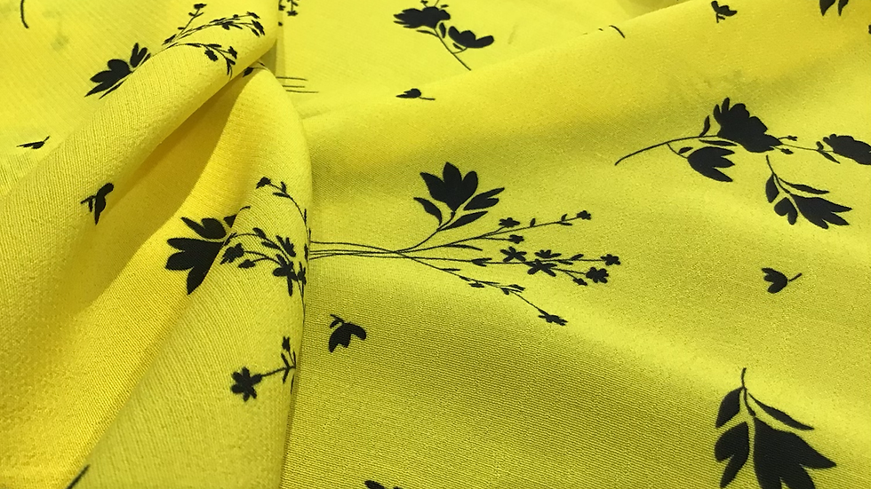 Black Floral on Neon Yellow