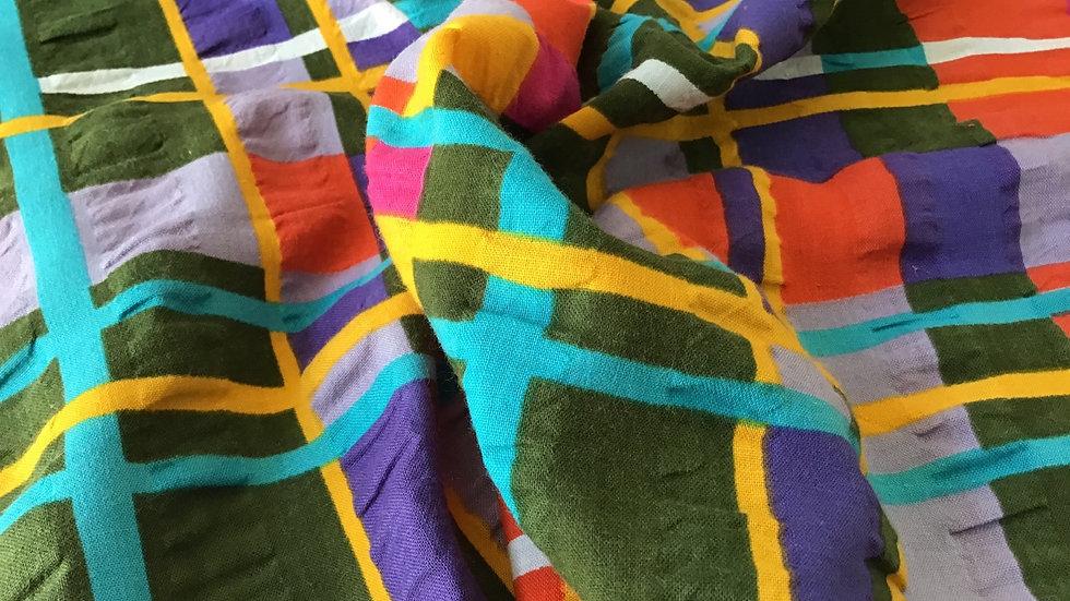 Purple, Green, Turquoise, Red, Yellow Seersucker