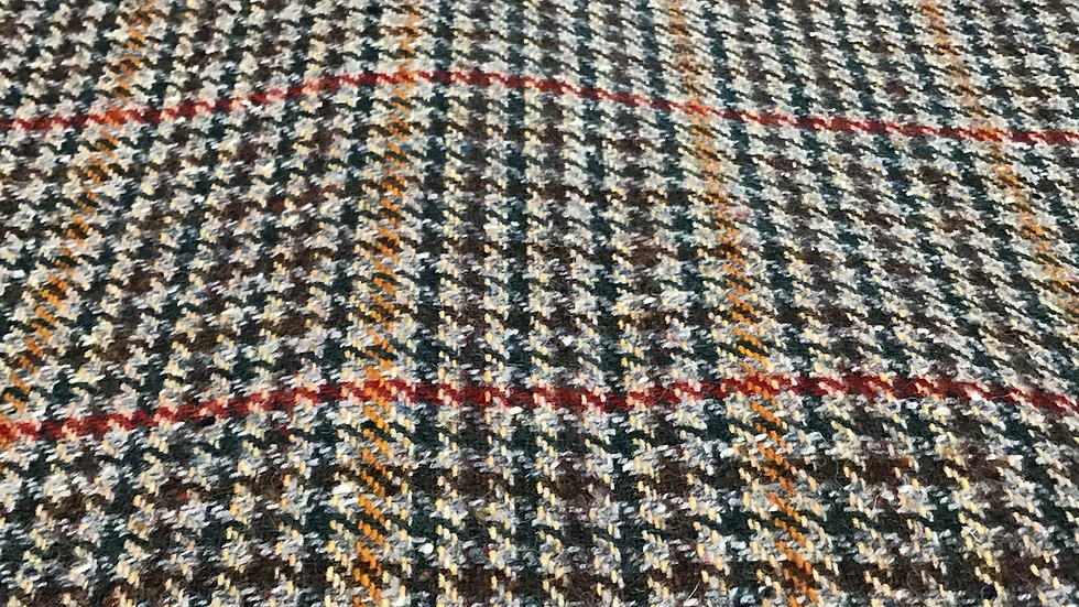 Remnant Overcheck Tweed Wool with Rust /140cms
