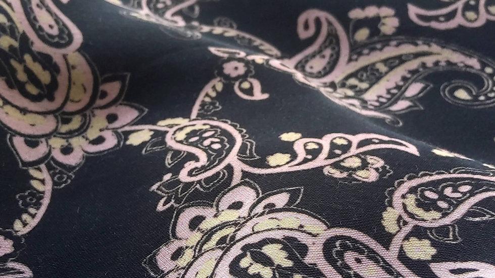 Paisley Viscose - Pink on Black