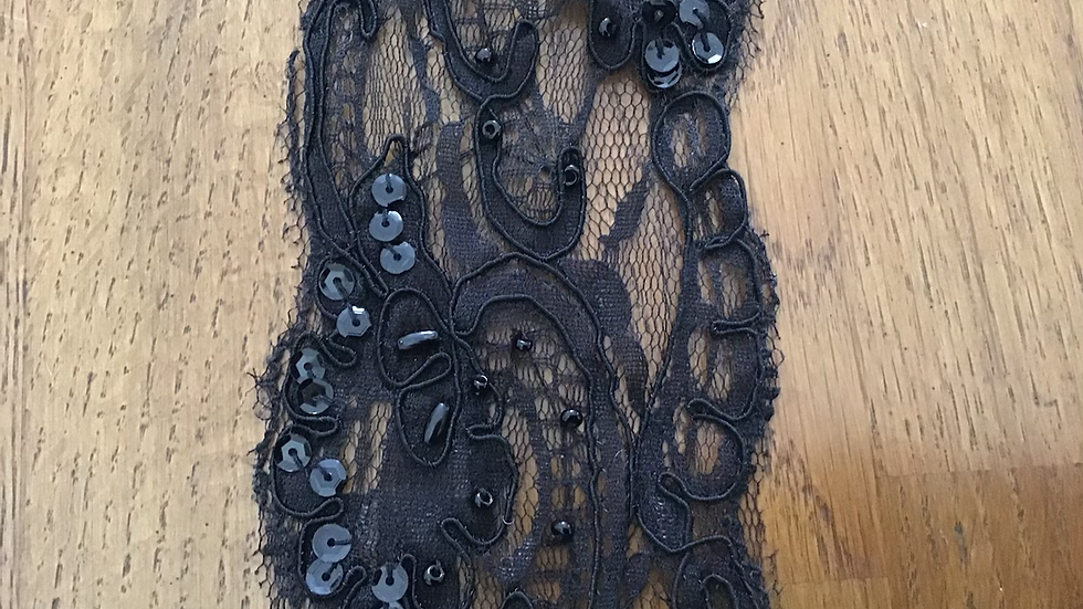 Black Lace Trim with Sequins & Beads /8cm wide