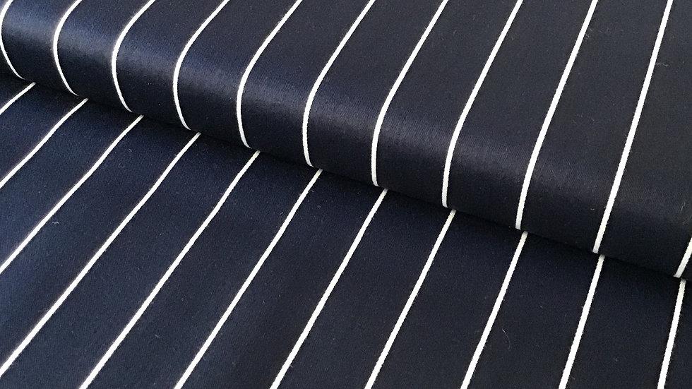 Navy with White Pinstripe Stretch Cotton