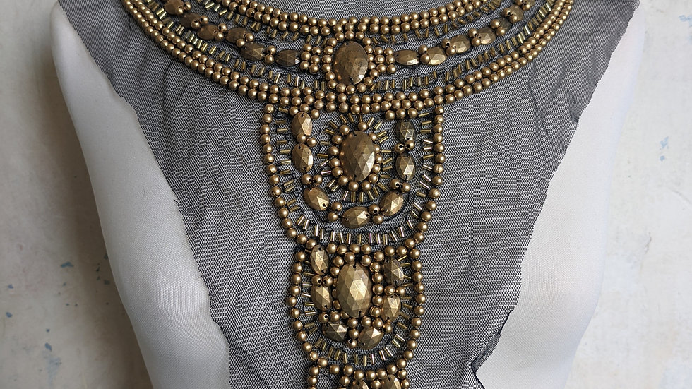 Antique Gold' Beaded Neckline