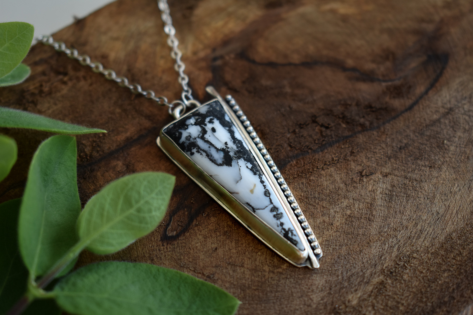 Triangle White Buffalo Sterling Silver Necklace