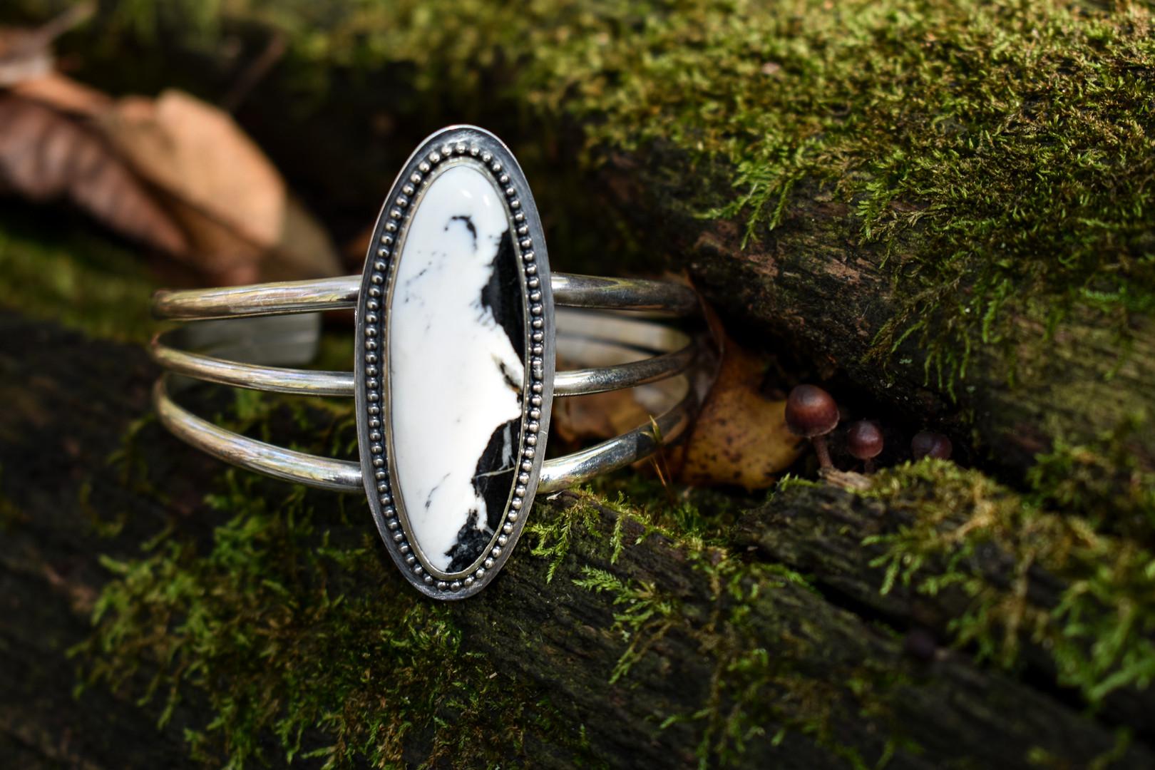 White Buffalo Sterling Silver Cuff Bracelet