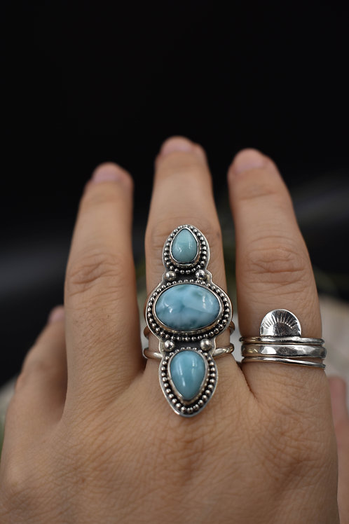 Triple Dotted Larimar Ring (size 7.5)