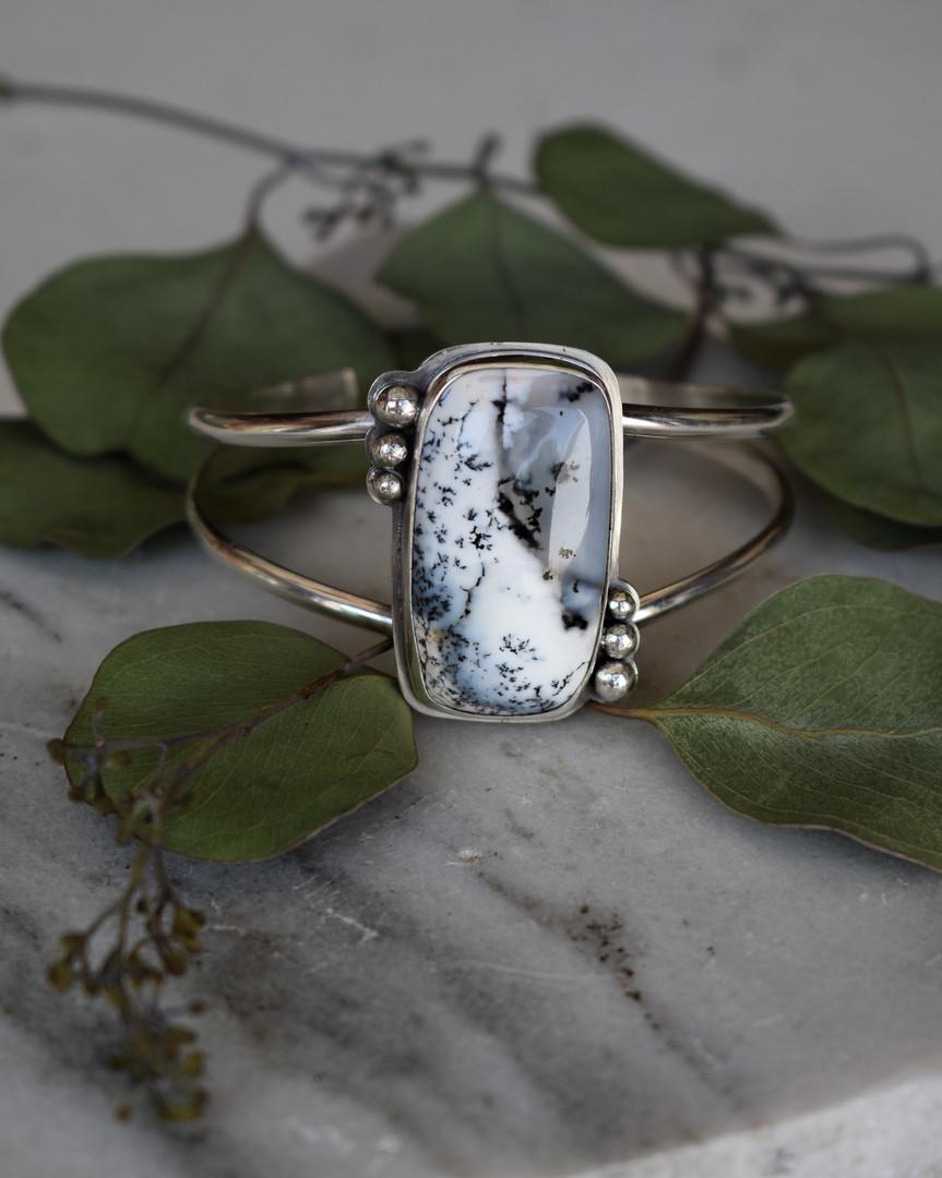 Dendritic Opal Sterling Silver Cuff Bracelet