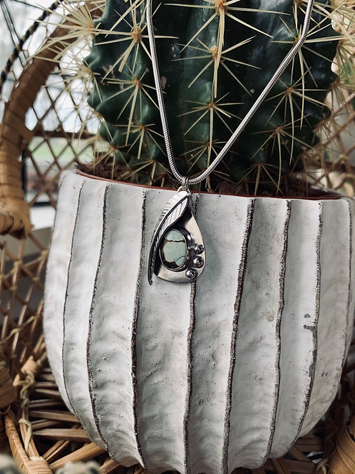 "Poseidon Variscite Large Leaf Necklace (18"")"